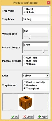 Product configurator keuze lijst